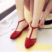 韓版夏季沙灘涼鞋女平底羅馬包頭平跟百搭塑料防滑度假海邊果凍鞋