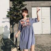 8005新款刺繡復古民族顯瘦短袖娃娃衫度假條紋連身裙ZLE518-A朵維思