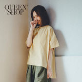 Queen Shop【01120133】前短後長落肩素面棉麻上衣 兩色售*預購*