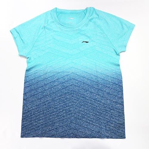 [陽光樂活=]【LI-NING】李寧LNAAYN048-1 一體織藍色漸層吸濕排汗T恤 女款