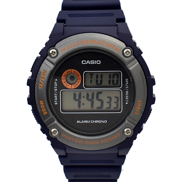 CASIO手錶 深藍橘字電子膠錶NECD15