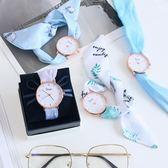 韓版時尚簡約潮流手表 學生小清新女士腕表布帶綁絲帶石英表女表mandyc衣間