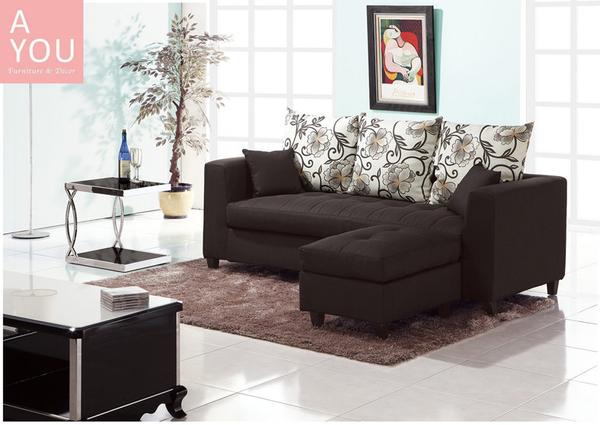 紗南L型黑色布沙發(全組)(大台北地區免運費)【阿玉的家2020】