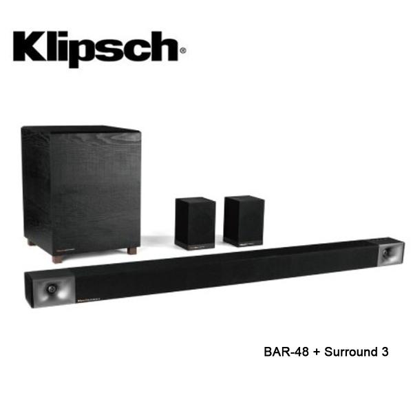 【送到府基本安裝+限時特賣+24期0利率】Klipsch 古力奇 無線超低音 聲霸 BAR-48 + Surround 3 公司貨