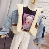 牛仔外套 拼接羊羔毛假兩件牛仔外套女2019秋冬新款韓版拼色加厚短款夾克潮