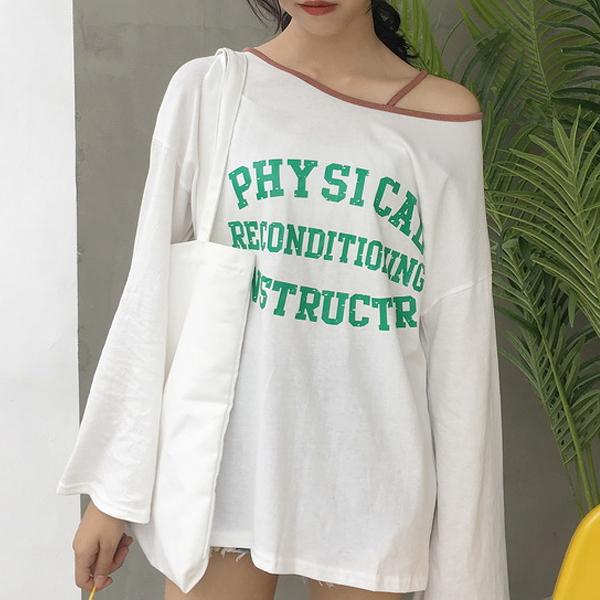 現貨-T恤-單肩吊繩字母PHYSICAL長袖上衣 Kiwi Shop奇異果1014【SZZ8118】