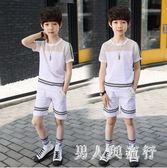 運動款2019夏季男童套裝鏤空透氣短袖褲裝休閒兩件式中大童 DR28103【男人與流行】