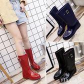 防水防滑女士套鞋水鞋下雨鞋女雨靴中筒水靴時尚成人膠鞋韓版 nm4110 【VIKI菈菈】