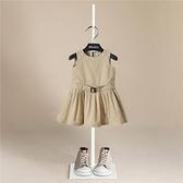 伯米吉女童春裝新款洋裝公主女孩寶寶裙童裝夏裝無袖西裝裙1166 幸福第一站