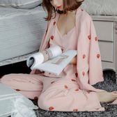 春新款甜美少女草莓七分袖長褲居家服棉性感吊帶三件套睡衣   LannaS