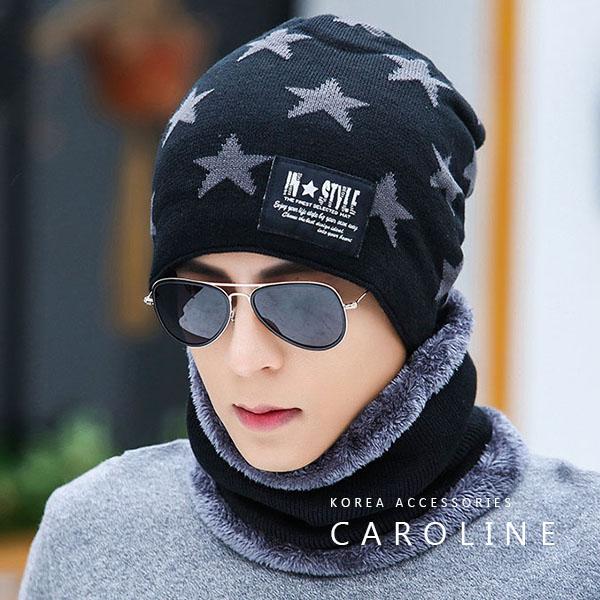 《Caroline》韓版秋冬套頭帽貼布加绒保暖針織毛線帽&圍脖2件套組71520