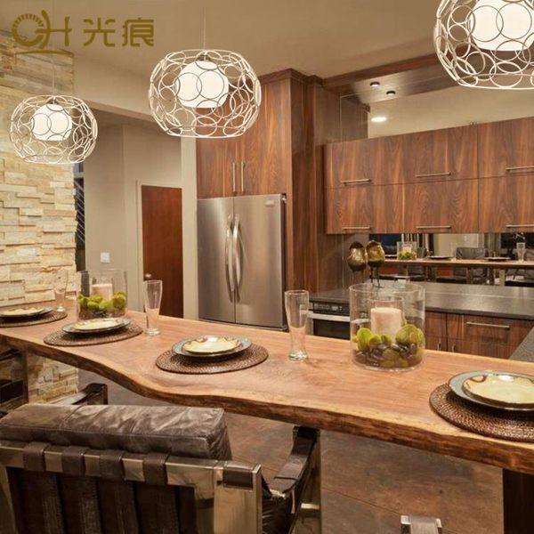 美式單頭吊燈現代簡約創意客廳臥室餐廳咖啡廳鐵藝玻璃圓形吧台燈【時尚家居館】