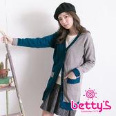betty's貝蒂思 雙色背後閃電長版針織外套(綠色)