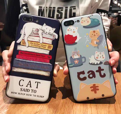 [24hr-現貨快出] 韓國 可愛貓咪 彩繪手機殼 卡通 蘋果 i6s 蘋果 iphone7 Plus 保護套 全包軟殼