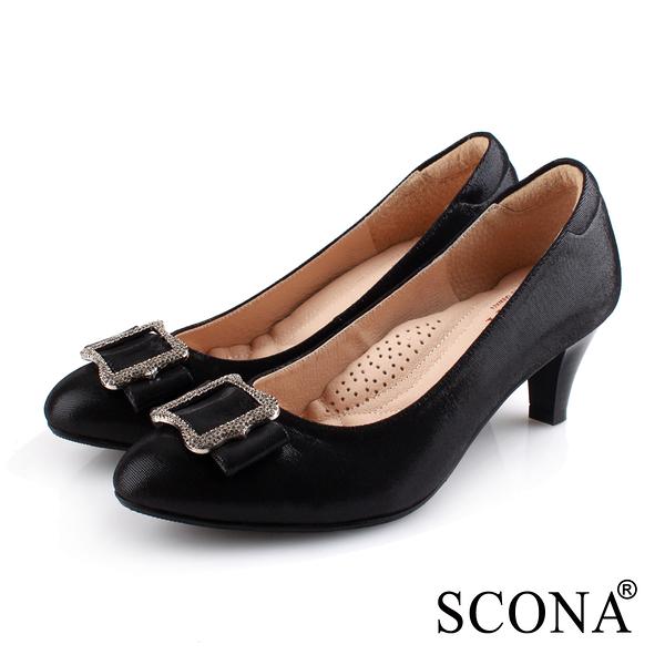 SCONA 蘇格南 全真皮 典雅晶鑽舒適高跟鞋 黑色 31047-1