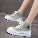 高筒鞋 厚底小白女鞋子2021百搭運動休閒增高新款網面韓版高幫春夏季透氣