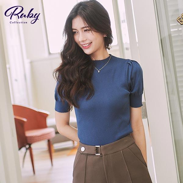上衣 RCha。素色泡泡袖短袖上衣-Ruby s 露比午茶