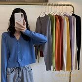 V領素色針織衫短款上衣女長袖時尚【繁星小鎮】