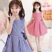 衣童趣♥中大女童 韓版洋裝 甜美連身裙 夏日格紋背心裙