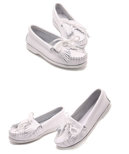 (免運)DE shop - 全真皮莫卡辛手工流蘇小白鞋平底鞋帆船鞋 - 303