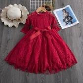 新品女寶寶連衣裙女童蕾絲裙七分袖紅色洋氣公主裙子超仙 - 紓困振興~~全館免運