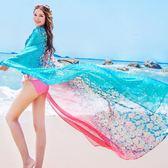 18色 絲巾女海邊防曬披肩圍巾韓版長款沙灘巾超大雪紡紗巾-小精靈