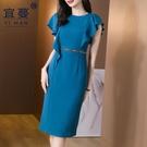 VK精品服飾 韓系名媛飛飛袖荷葉邊氣質收腰大碼短袖洋裝