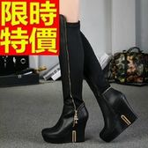 長靴-帥氣時尚時尚側拉鍊圓頭粗跟過膝女馬靴64e17【巴黎精品】