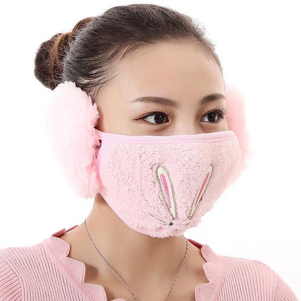 【獨愛3C用品】【買三送一】冬季必備保暖卡通造型兔兔絨毛防塵口罩耳罩二合一(編號14/粉色)