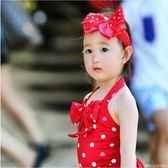 兒童泳衣女寶寶溫泉中小童女孩連體波點愛心公主泳裝嬰幼兒送發帶   糖糖日系森女屋店