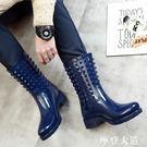 春秋雨鞋男女冬季 高跟中筒馬丁雨靴情侶水鞋時尚防滑膠鞋潮『摩登大道』