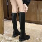 高筒靴.簡約顯瘦素面皮革後綁結低跟長靴....