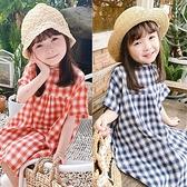 寬鬆格子短袖連身洋裝 童裝 洋裝