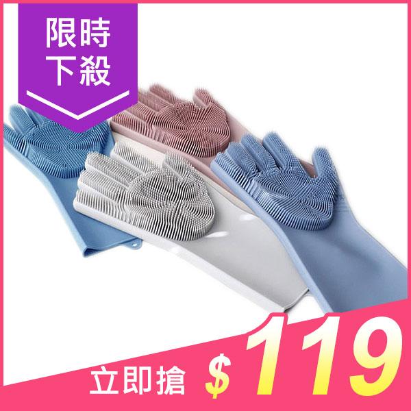 韓版加厚多功能二合一硅膠手套刷(1雙入)【小三美日】顏色隨機出貨 原價$159