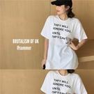 短袖T恤 白色短袖T恤女夏季新款復古字母印花中長款個性百搭ins上衣潮