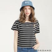 GIORDANO 女裝圓領可愛刺繡寬短版T恤-03 標誌黑/皎雪色