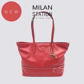 【台中米蘭站】全新品 BALLY 全牛皮雙肩背包 手提包 (紅)