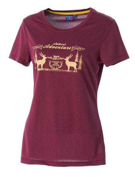 荒野 WILDLAND 女 印花 抗UV高透濕上衣 圓領上衣 T恤 短袖排汗衣 運動衣 吸濕快乾 0A51693-12暗紅色