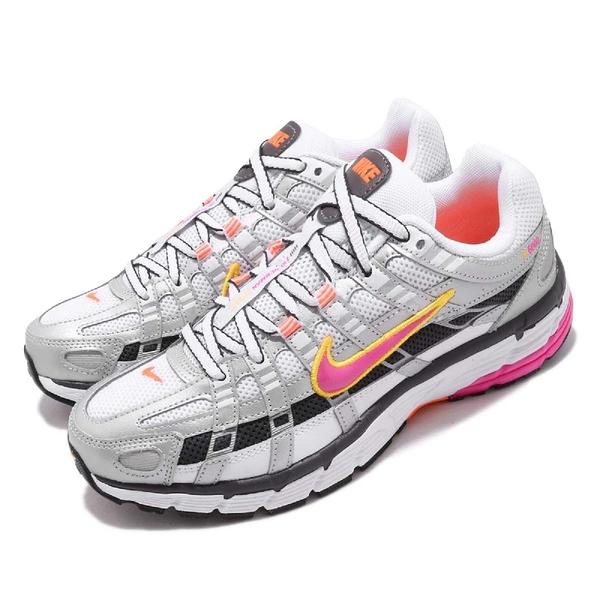 Nike Wmns P-6000 復古慢跑鞋 銀 橘 桃紅 女鞋 運動鞋 【ACS】 BV1021-100