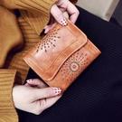 盧梭錢包女ins潮 復古歐美個性摺疊短款2019簡約時尚網紅鏤空卡包 夢幻衣都