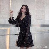 雪紡洋裝洋裝女秋裝2019新款星星圖案綁帶雪紡裙子溫柔裙  【全網最低價】