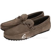 TOD'S Gommino 咖棕色綁帶麂皮樂福鞋(男鞋) 1410839-C7
