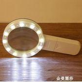 60倍放大鏡100倍帶燈20倍老人閱讀30古玩珠寶鑒定維修手持式高清 金曼麗莎
