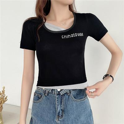 上衣小衫短款假兩件方領短袖T恤女夏設計感小眾短款高腰上衣半袖潮1F064-A.胖丫