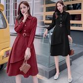 超殺29折 韓國學院風復古燈芯絨單擺配腰帶長版長袖洋裝