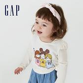Gap女幼童 布萊納系列 Logo純棉印花長袖T恤 731853-象牙白