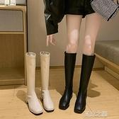長筒靴女 小個子長靴女不過膝高筒騎士靴春秋單靴粗跟皮靴大碼長筒靴子 快速出貨