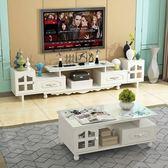 一件免運-歐式電視櫃茶几組合套裝現代簡約客廳小戶型新款迷你鋼化玻璃伸縮WY