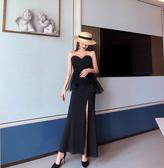 智熏裙桔梗裙夏季抹胸露背洋裝黑色小禮服連衣裙女裝