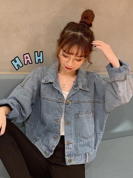 牛仔外套 初秋牛仔外套女韓版寬鬆新款藍色短款不對稱長袖上衣學生外穿  poly girl